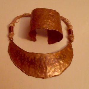 Vintage 70s Copper Toned Necklace & Cuff Bracelet